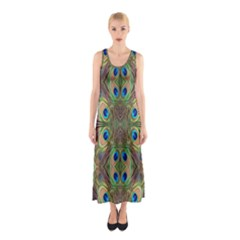 Beautiful Peacock Feathers Seamless Abstract Wallpaper Background Sleeveless Maxi Dress