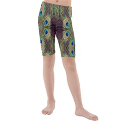 Beautiful Peacock Feathers Seamless Abstract Wallpaper Background Kids  Mid Length Swim Shorts