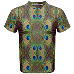 Beautiful Peacock Feathers Seamless Abstract Wallpaper Background Men s Cotton Tee