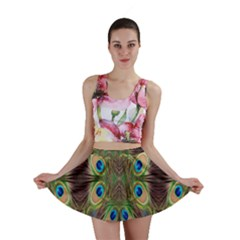 Beautiful Peacock Feathers Seamless Abstract Wallpaper Background Mini Skirt