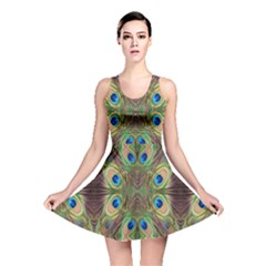Beautiful Peacock Feathers Seamless Abstract Wallpaper Background Reversible Skater Dress
