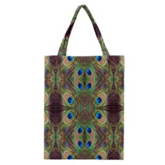 Beautiful Peacock Feathers Seamless Abstract Wallpaper Background Classic Tote Bag