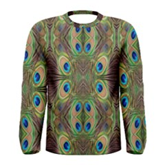 Beautiful Peacock Feathers Seamless Abstract Wallpaper Background Men s Long Sleeve Tee