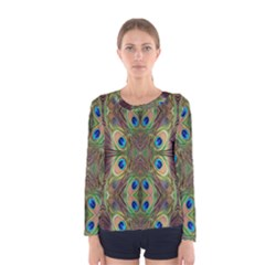 Beautiful Peacock Feathers Seamless Abstract Wallpaper Background Women s Long Sleeve Tee
