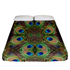 Beautiful Peacock Feathers Seamless Abstract Wallpaper Background Fitted Sheet (king Size)