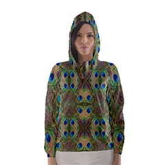 Beautiful Peacock Feathers Seamless Abstract Wallpaper Background Hooded Wind Breaker (women)