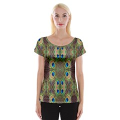 Beautiful Peacock Feathers Seamless Abstract Wallpaper Background Women s Cap Sleeve Top
