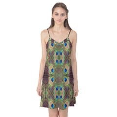 Beautiful Peacock Feathers Seamless Abstract Wallpaper Background Camis Nightgown