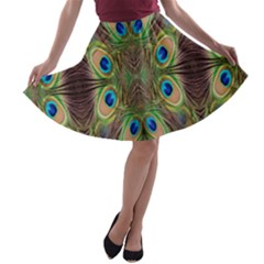 Beautiful Peacock Feathers Seamless Abstract Wallpaper Background A Line Skater Skirt