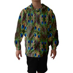 Beautiful Peacock Feathers Seamless Abstract Wallpaper Background Hooded Wind Breaker (Kids)