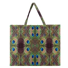 Beautiful Peacock Feathers Seamless Abstract Wallpaper Background Zipper Large Tote Bag
