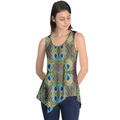 Beautiful Peacock Feathers Seamless Abstract Wallpaper Background Sleeveless Tunic