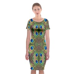 Beautiful Peacock Feathers Seamless Abstract Wallpaper Background Classic Short Sleeve Midi Dress