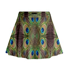 Beautiful Peacock Feathers Seamless Abstract Wallpaper Background Mini Flare Skirt
