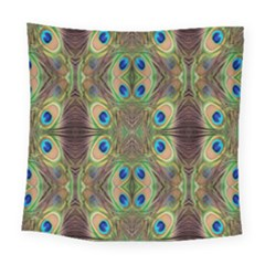 Beautiful Peacock Feathers Seamless Abstract Wallpaper Background Square Tapestry (large)