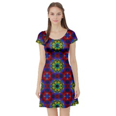 Abstract Pattern Wallpaper Short Sleeve Skater Dress