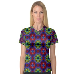 Abstract Pattern Wallpaper Women s V-Neck Sport Mesh Tee
