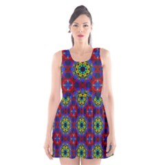 Abstract Pattern Wallpaper Scoop Neck Skater Dress