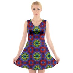 Abstract Pattern Wallpaper V-Neck Sleeveless Skater Dress