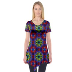 Abstract Pattern Wallpaper Short Sleeve Tunic