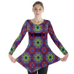 Abstract Pattern Wallpaper Long Sleeve Tunic