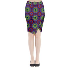 Abstract Pattern Wallpaper Midi Wrap Pencil Skirt