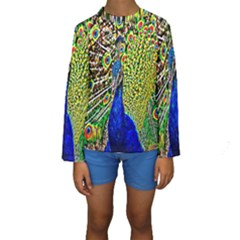 Graphic Painting Of A Peacock Kids  Long Sleeve Swimwear