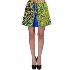 Graphic Painting Of A Peacock Skater Skirt