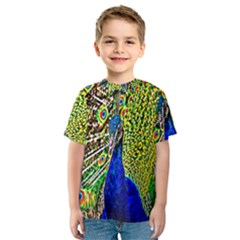 Graphic Painting Of A Peacock Kids  Sport Mesh Tee