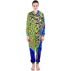 Graphic Painting Of A Peacock Hooded Jumpsuit (Ladies)