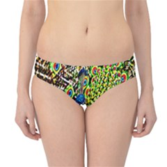 Graphic Painting Of A Peacock Hipster Bikini Bottoms