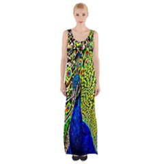 Graphic Painting Of A Peacock Maxi Thigh Split Dress