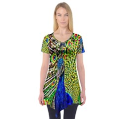 Graphic Painting Of A Peacock Short Sleeve Tunic