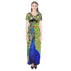 Graphic Painting Of A Peacock Short Sleeve Maxi Dress