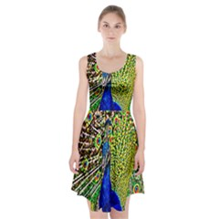 Graphic Painting Of A Peacock Racerback Midi Dress