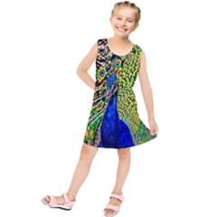 Graphic Painting Of A Peacock Kids  Tunic Dress