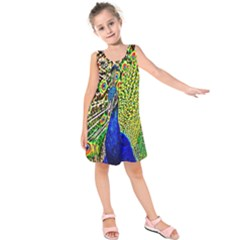 Graphic Painting Of A Peacock Kids  Sleeveless Dress