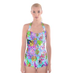Bright Rainbow Background Boyleg Halter Swimsuit