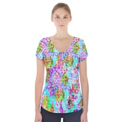 Bright Rainbow Background Short Sleeve Front Detail Top