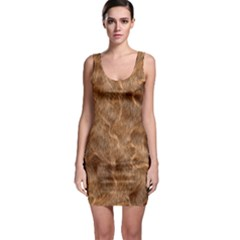 Brown Seamless Animal Fur Pattern Sleeveless Bodycon Dress