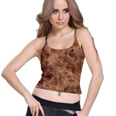 Brown Seamless Animal Fur Pattern Spaghetti Strap Bra Top