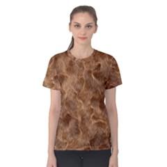 Brown Seamless Animal Fur Pattern Women s Cotton Tee