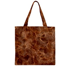 Brown Seamless Animal Fur Pattern Zipper Grocery Tote Bag