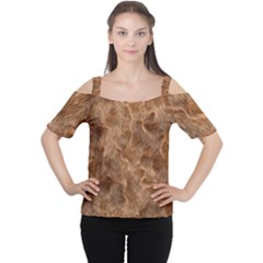 Brown Seamless Animal Fur Pattern Women s Cutout Shoulder Tee