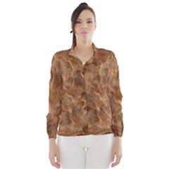 Brown Seamless Animal Fur Pattern Wind Breaker (women)