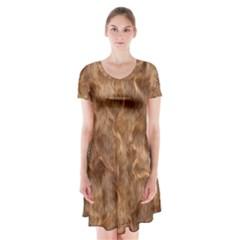 Brown Seamless Animal Fur Pattern Short Sleeve V-neck Flare Dress