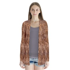 Brown Seamless Animal Fur Pattern Cardigans