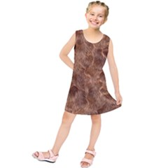 Brown Seamless Animal Fur Pattern Kids  Tunic Dress