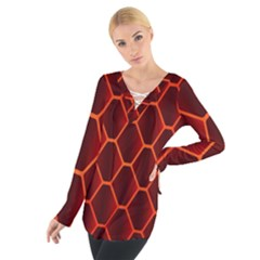 Snake Abstract Pattern Women s Tie Up Tee