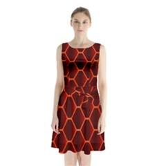Snake Abstract Pattern Sleeveless Chiffon Waist Tie Dress